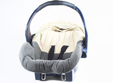 Grey and white rear-facing baby car seat