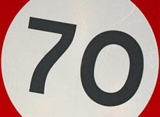 70 speed limit sign