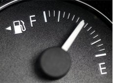 Fuel gauge on a car