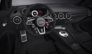 The inside of The Audi TT Quattro Sport Concept has vbeen stripped right back to what is needed - and that only.