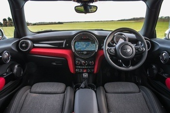 The dashboard of the new MINI Hatch is instantly recognisable as a MINI feature, keeping the MINI feel there but adding in a new display and operating concept