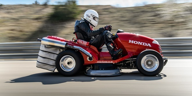 Honda (UK)'s 1000cc 109HP Mean Mower is officially the world's fastest lawnmower as it broke the Guinness World Record by almost 30mph with an average speed of 116.57mph