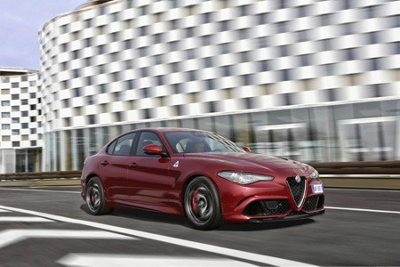 Alfa-Romeo Giulia Quadrifoglio on the road
