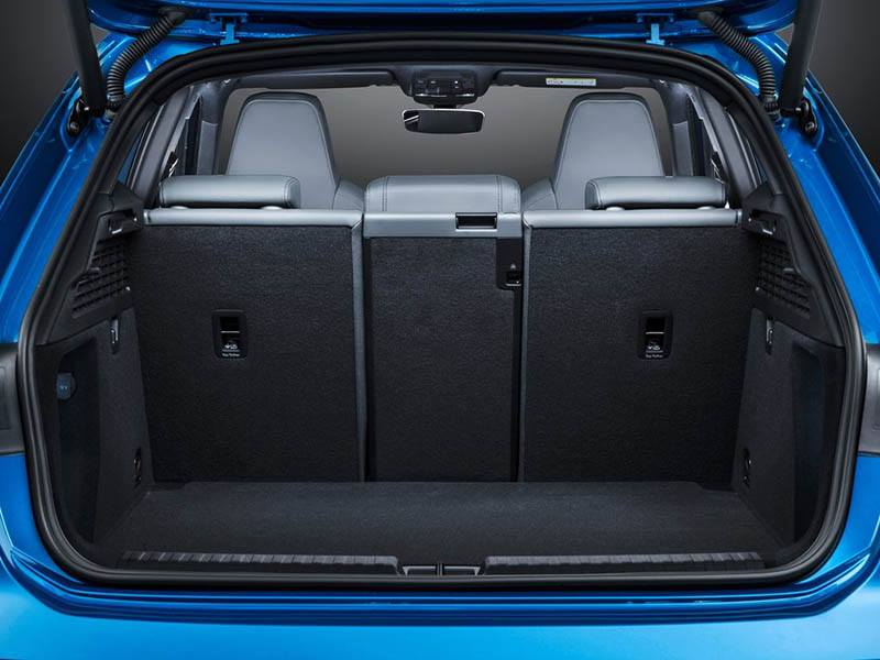 Boot of a blue Audi A3 Sportback 2021