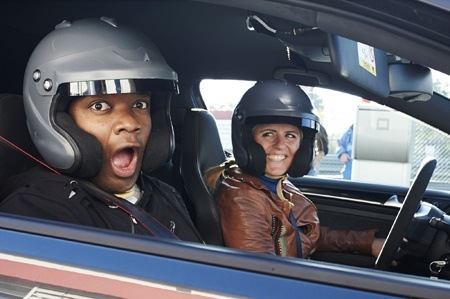 BBC Top Gear Rory Reid drives with Sabine Schmitz