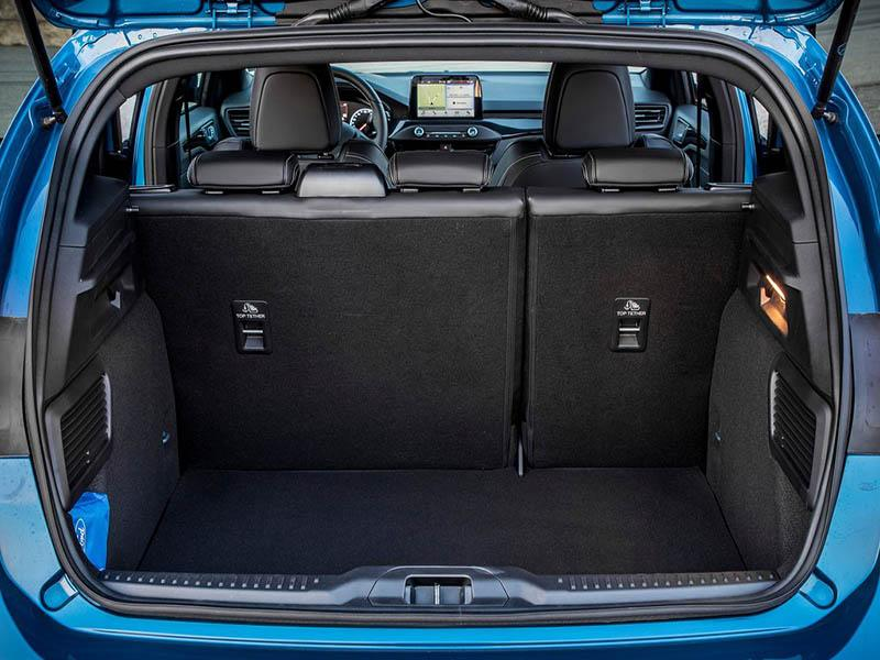 blue Ford Focus showing boot space