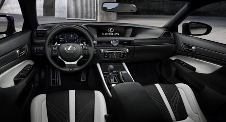 Inside the cockpit of the Lexus GS F V8 Saloon