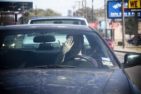Hand Gesture from a car driver