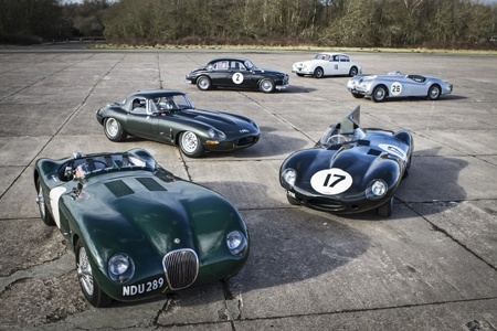 Some of the Classic Jaguars racing at the Jaguar Heritage Challenge Series