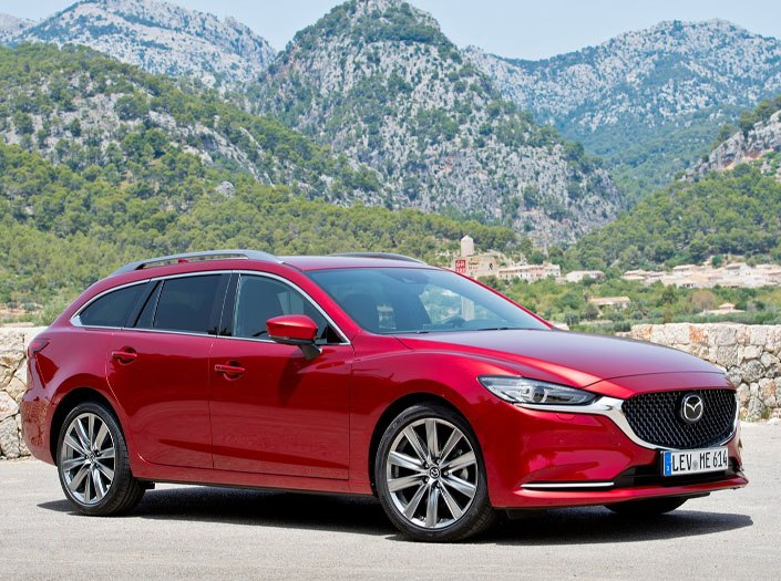 Red Mazda 6 Tourer side exterior shot