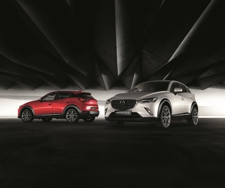 The all-new Mazda CX-3 available in red, silver and other colours