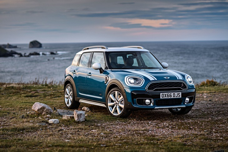 New MINI Countryman Front View on a hill