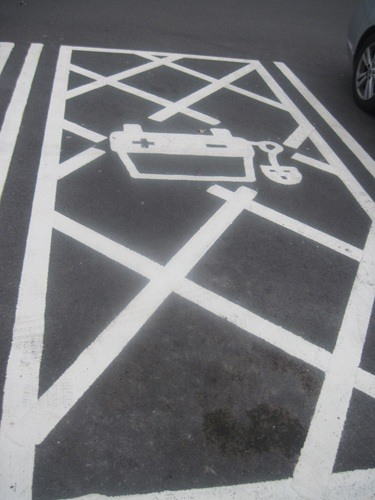 Parking space for electric car