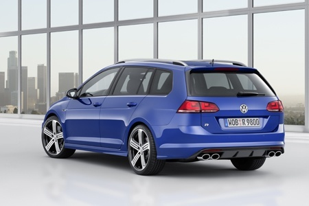 Behind the new Golf R Estate on the road