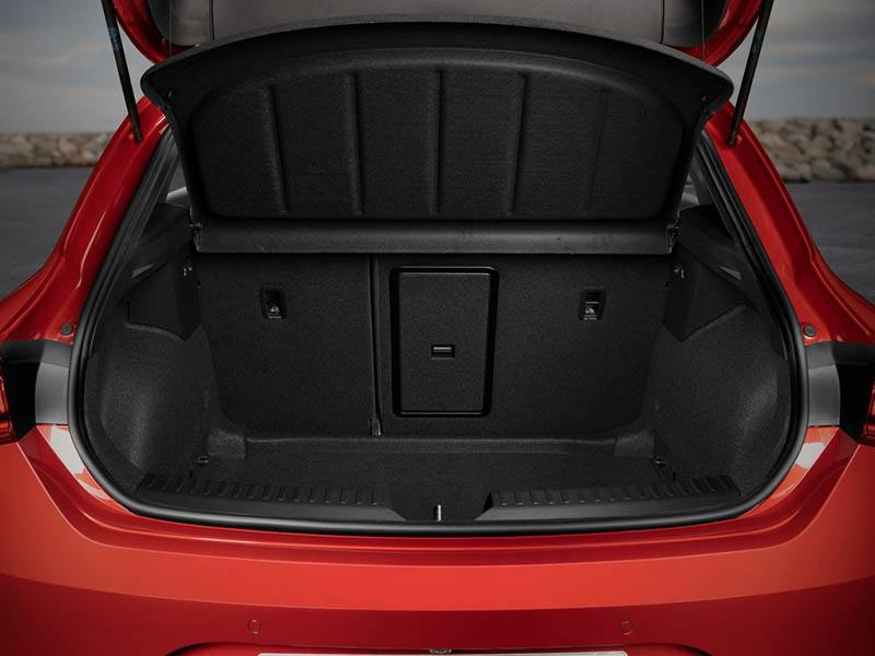 red seat leon with boot lid open showing interior space