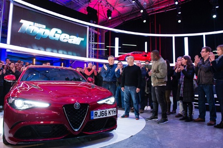 The Alfa Romeo Guilia guests on BBC Top Gear