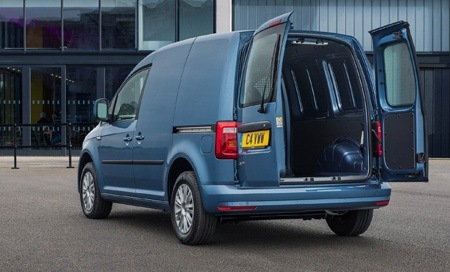 The new 2018 Volkswagen Caddy rear view doors open