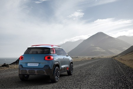 The new Citroen C-Aircross Concept rear view on the road