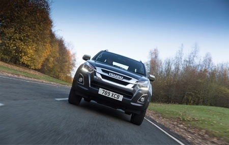 The new Isuzu D-Max on the road front view