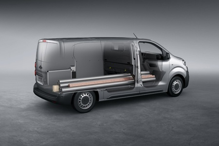 The new Peugeot Expert has lots of room even for long materials