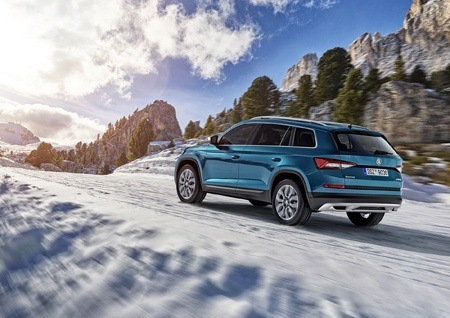The new Skoda Kodiaq Scout on the road rear view