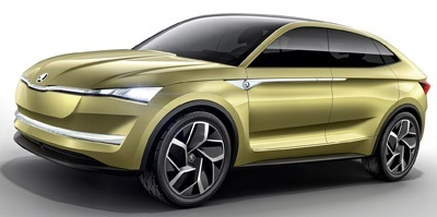 The new Skoda Vision E electric concept side view