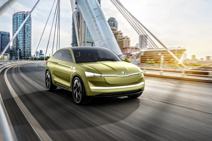 The new Skoda Vision E electric concept visualised on the road