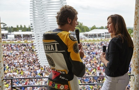 Valentino Rossi and Suzi Perry with crowd at Goodwood Festival of Speed 2015