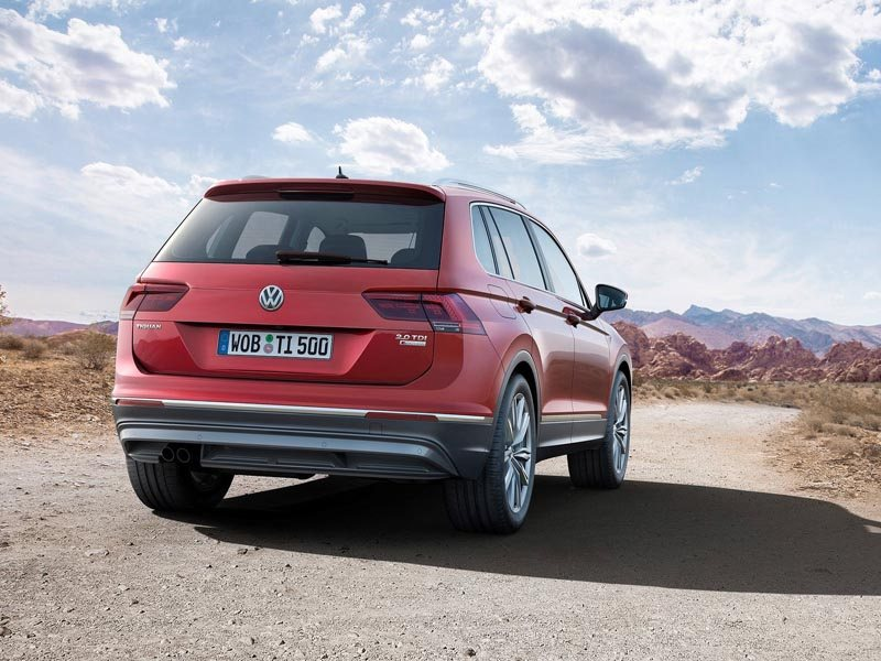 A Rear View of a Red Volkswagen Tiguan