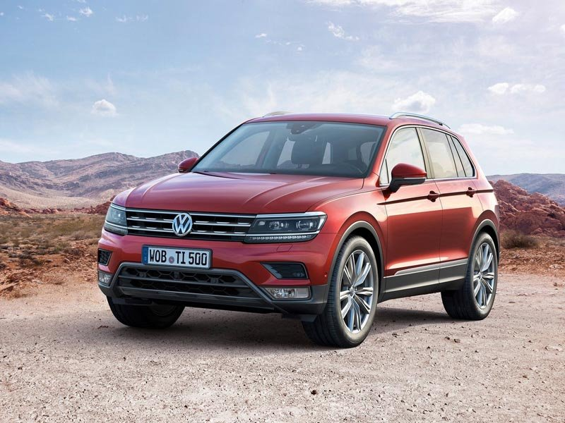 A Front Exterior View of Red Volkswagen Tiguan