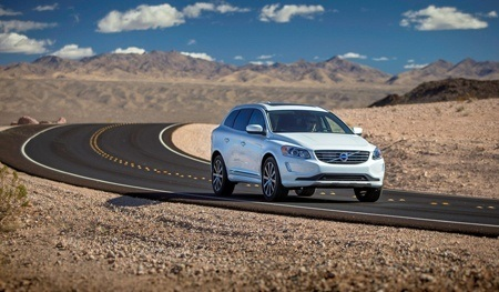VOLVO XC60 in the desert on the road
