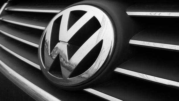 The Volkswagen Badge on the front of a car
