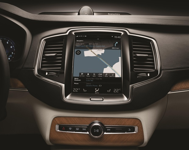 The screen of the new Volvo XC90 buttonless dashboard
