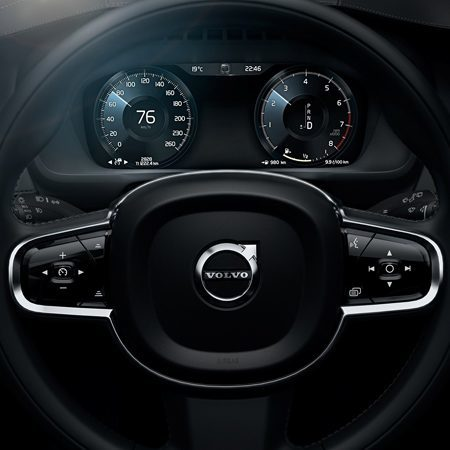 The view from the steering wheel of the new Volvo XC90