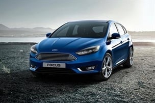 Exterior photograph of a blue Ford Focus