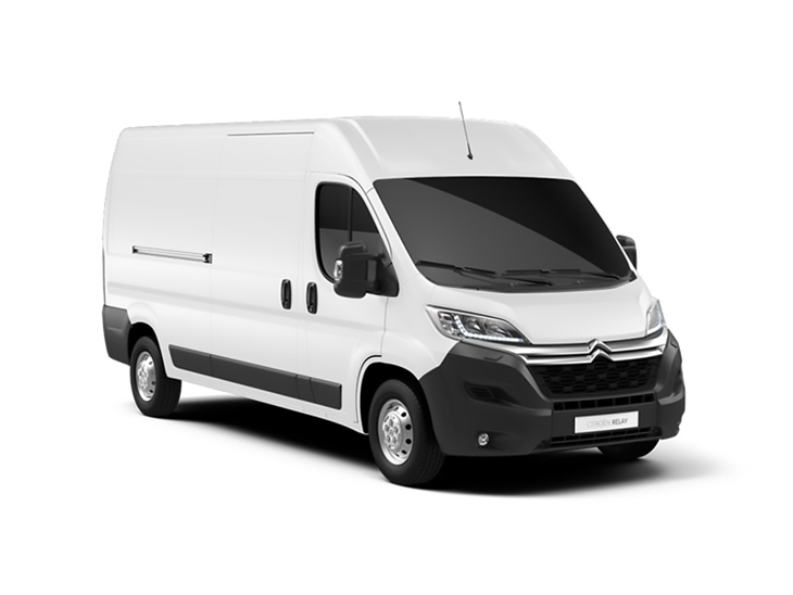 white citroen relay panel van on white background available to lease