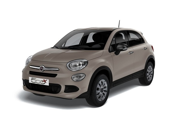 beige fiat 500x pop car on white background available to lease