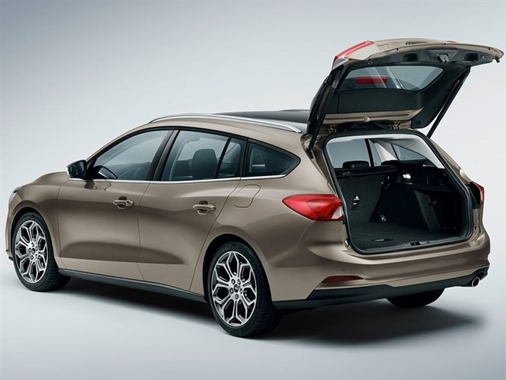 The Rear Exterior of the New Ford Focus Estate with the Boot Open