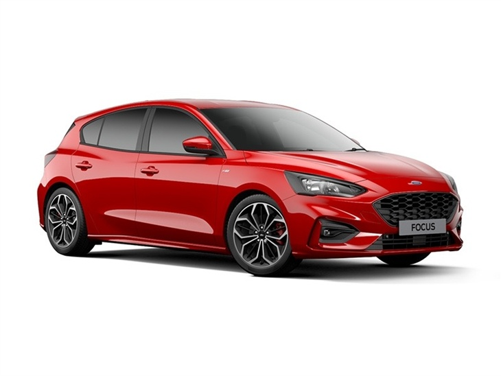The Side of a New Ford Focus ST Line X in Red