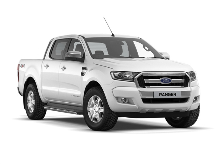 The Front of a Ford Ranger Double Cab in White
