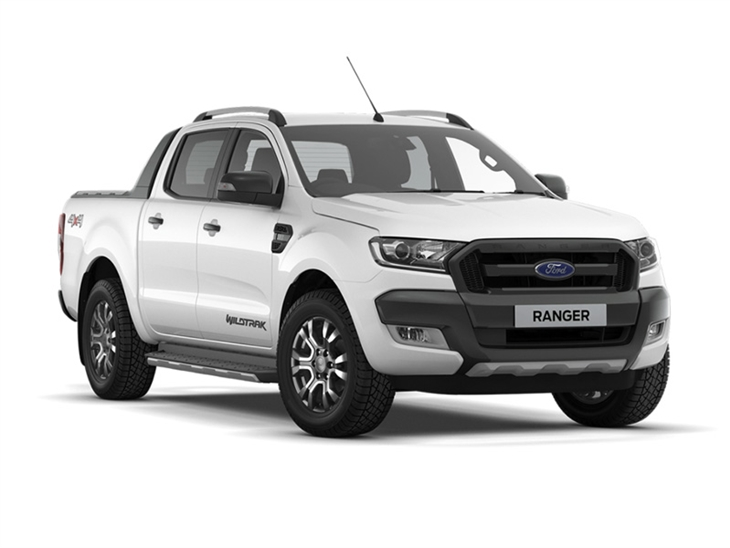 The Front of a Ford Ranger Wildtrak Double Cab in White
