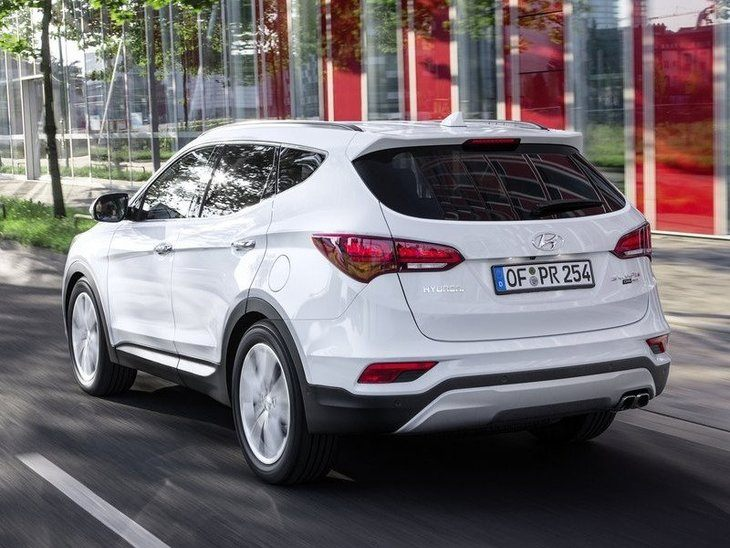 Hyundai Santa Fe New Model White Exterior Back