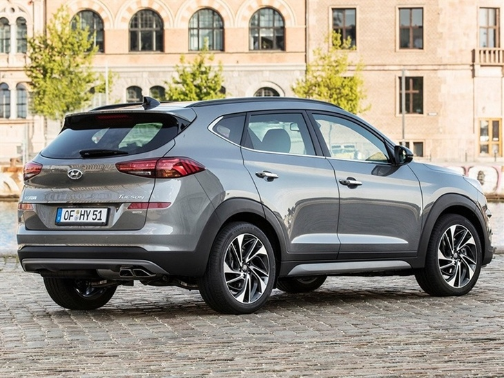 A rear Side view of the new Hyundai Tucson in grey