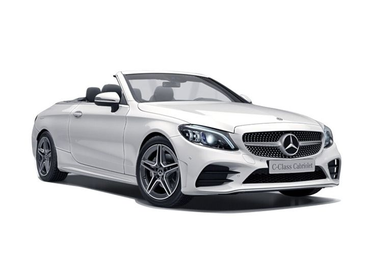 The Front of a Mercedes Benz C-Class Cabriolet AMG Line Premium in White