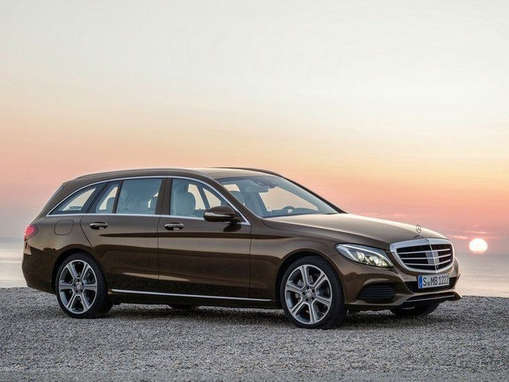 The side of the Mercedes Benz C Class Estate in Brown