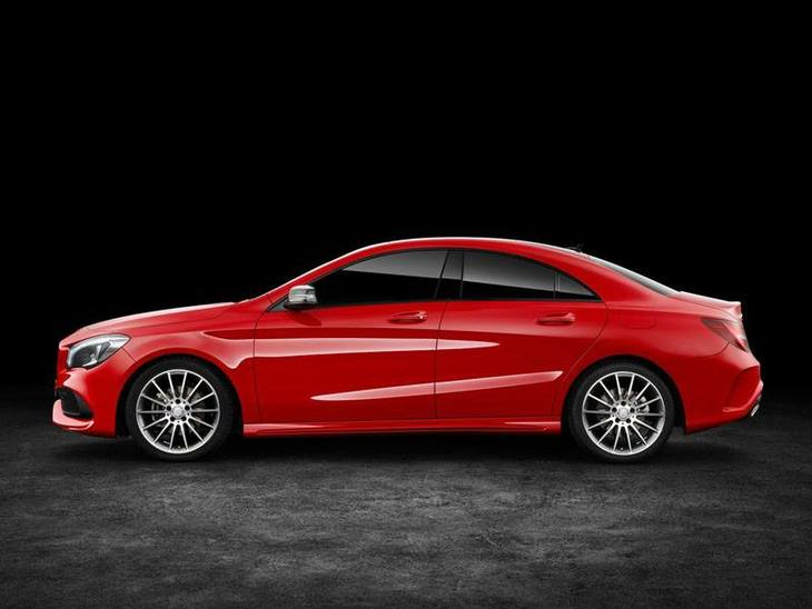 Mercedes Benz CLA Coupe New Model Red Exterior Side