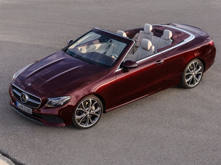 An Aerial View of the Mercedes Benz E Class Cabriolet with the Top Down in Red