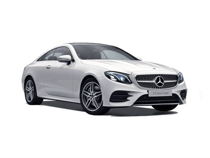 The Front of a Mercedes-Benz E Class Coupe AMG Line Premium Plus in White