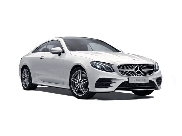 The Front of a Mercedes-Benz E Class Coupe AMG Line Premium in White
