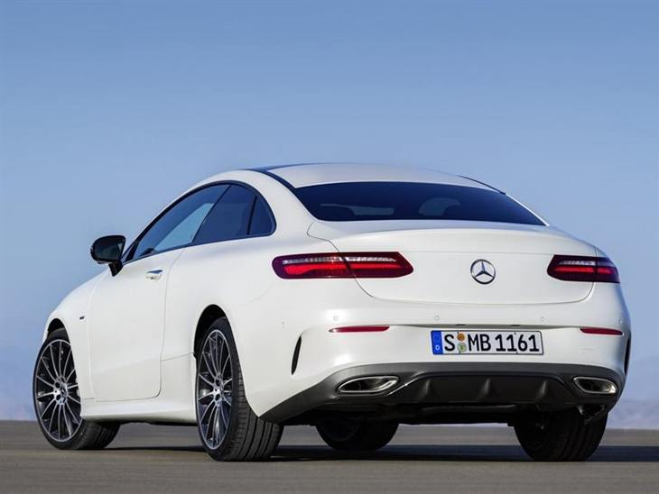 The Back of a Mercedes-Benz E Class Coupe in White